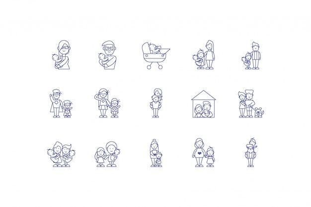 Conjunto de ícones de desenhos animados de família isolado