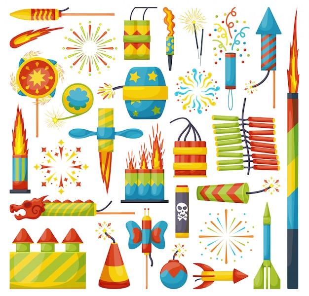 Conjunto de ícones de desenhos animados de fogos de artifício de natal