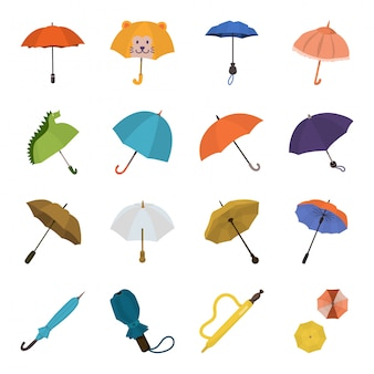 Conjunto de ícones de desenhos animados de guarda-chuva