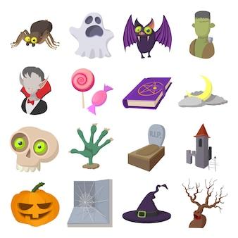 Conjunto de ícones de desenhos animados de halloween isolado