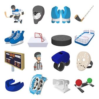 Conjunto de ícones de desenhos animados de hóquei para web e dispositivos móveis