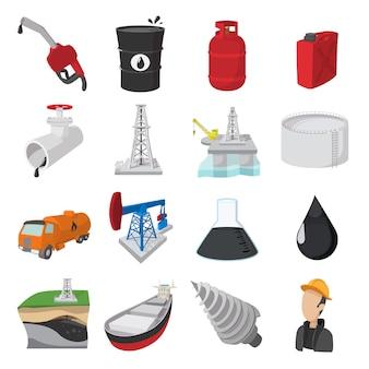 Conjunto de ícones de desenhos animados de indústria de petróleo isolado vector