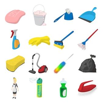 Conjunto de ícones de desenhos animados de limpeza isolado