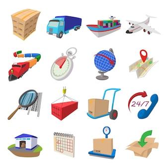 Conjunto de ícones de desenhos animados de logística isolado