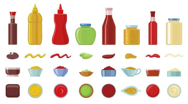 Conjunto de ícones de desenhos animados de molho.