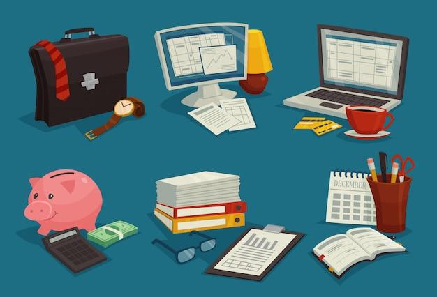 Conjunto de ícones de desenhos animados de negócios