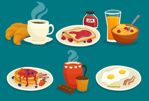 Conjunto de ícones de desenhos animados de pequeno-almoço