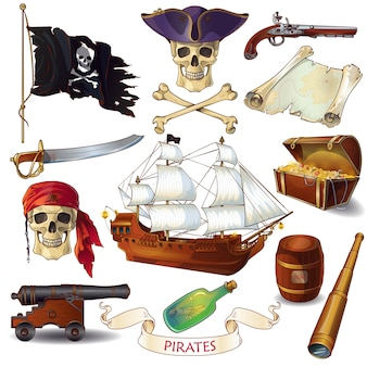 Conjunto de ícones de desenhos animados de piratas