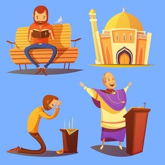 Conjunto de ícones de desenhos animados de religião