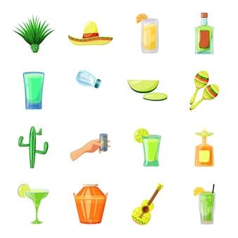 Conjunto de ícones de desenhos animados de tequila