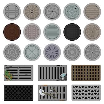 Conjunto de ícones de desenhos animados de vetor de esgoto de poço de inspeção. rua da escotilha da ilustração do vetor da coleção no fundo branco. conjunto de ícones de ilustração de desenhos animados isolados de bueiro para web design.