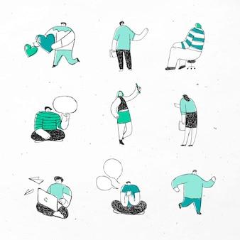 Conjunto de ícones de desenhos animados de vetor de negócios verdes fofos