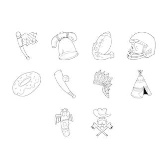 Conjunto de ícones de desenhos animados dos eua