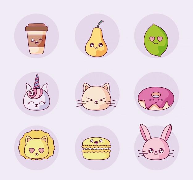 Conjunto de ícones de desenhos animados kawaii isolado vector design