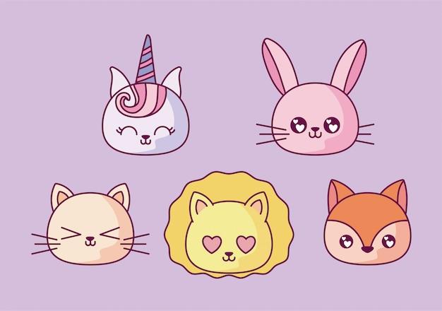 Conjunto de ícones de desenhos kawaii