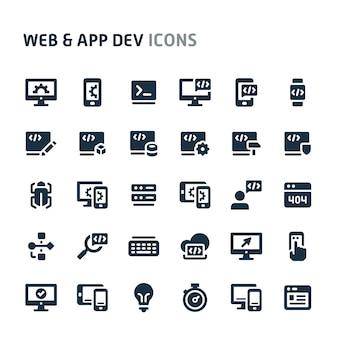 Conjunto de ícones de desenvolvimento de aplicativos e sites. série de ícone preto fillio.