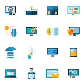 Conjunto de ícones de desenvolvimento de programa