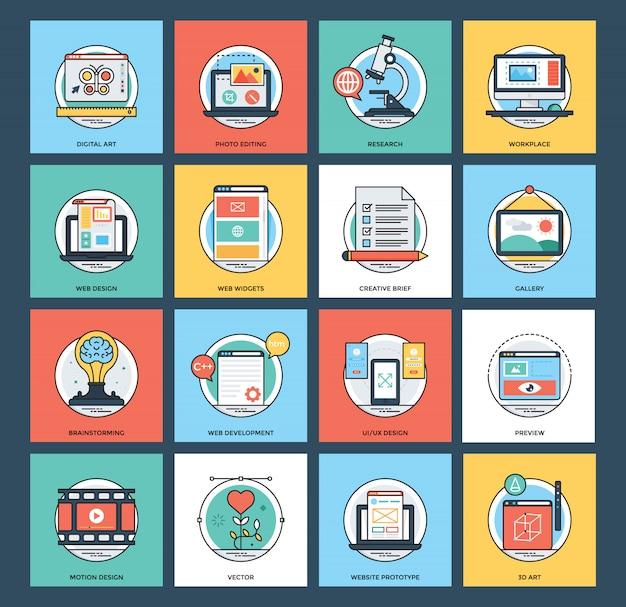 Conjunto de ícones de desenvolvimento web e móvel