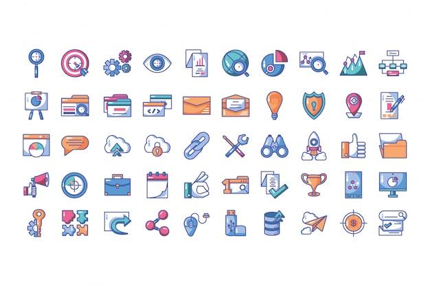 Conjunto de ícones de desenvolvimento web e processo de programação de sites
