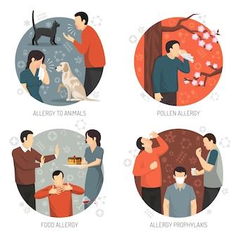 Conjunto de ícones de design alérgico