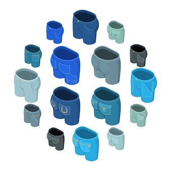 Conjunto de ícones de design de bolsos de calças, estilo isométrico