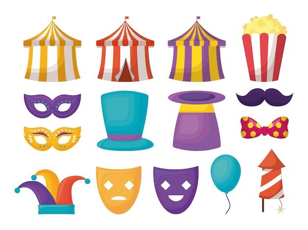 Conjunto de ícones de design de circo de carnaval
