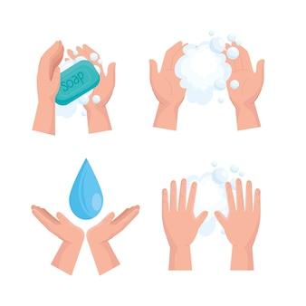 Conjunto de ícones de design de dia global de lavagem de mãos, higiene, lavagem, saúde e limpeza