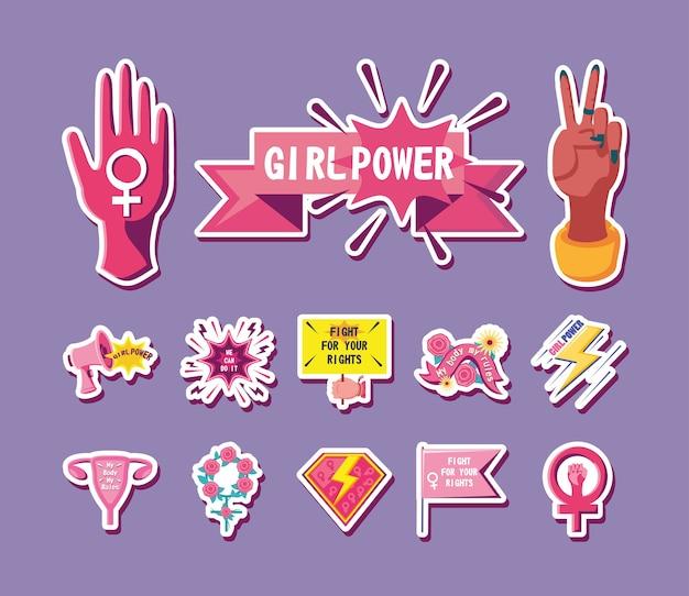 Conjunto de ícones de design de feminismo com estilo detalhado e movimento internacional