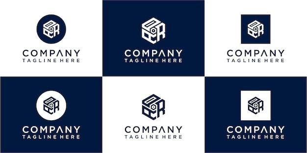 Conjunto de ícones de design de logotipo de monograma inicial abstrato para negócios de luxo elegante e aleatório