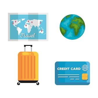 Conjunto de ícones de design de verão e viagem, turismo de viagem e tema de viagem