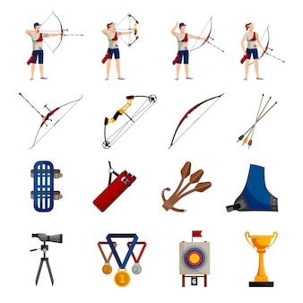 Conjunto de ícones de design plano com jogadores de tiro com arco, diferentes tipos de arcos, equipamento necessário
