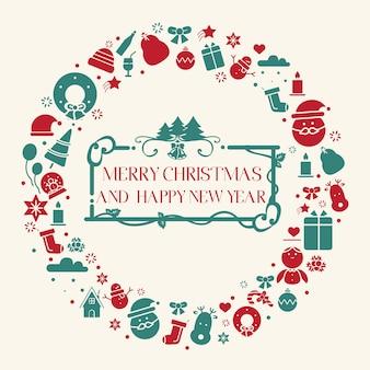 Conjunto de ícones de design plano de férias de natal