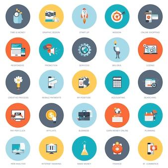 Conjunto de ícones de design plano de negócios