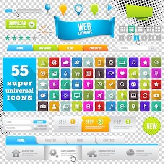 Conjunto de ícones de design plano, elementos, widgets e menus.