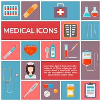 Conjunto de ícones de design plano médico