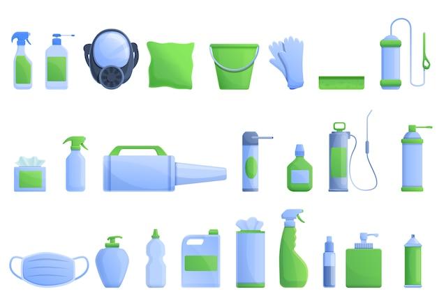 Conjunto de ícones de desinfecção, estilo cartoon