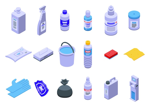 Conjunto de ícones de desinfecção, estilo isométrico