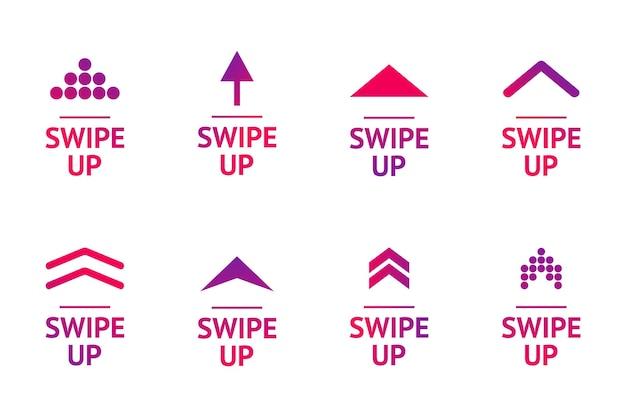 Conjunto de ícones de deslize do vetor. seta para cima para histórias de mídia social, blogueiro de design, pictograma de rolagem. histórias botão deslizante gradiente colorido