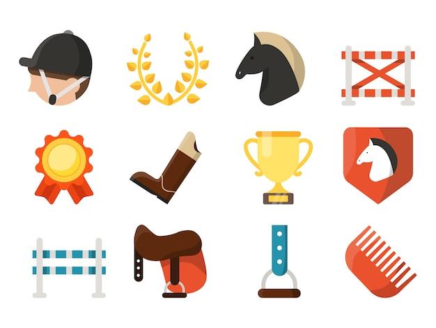 Conjunto de ícones de desporto equestre isolado no branco