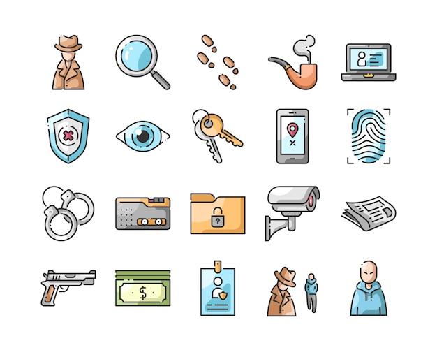 Conjunto de ícones de detetive