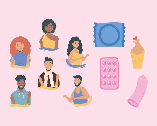 Conjunto de ícones de dez dias de saúde sexual