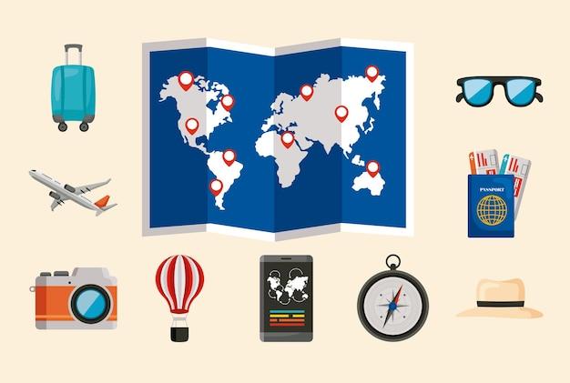 Conjunto de ícones de dez férias viajando
