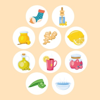 Conjunto de ícones de dez remédios caseiros