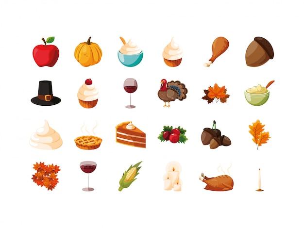 Conjunto de ícones de dia de ação de graças de variedade