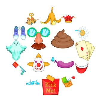 Conjunto de ícones de dia de tolos de abril, estilo cartoon