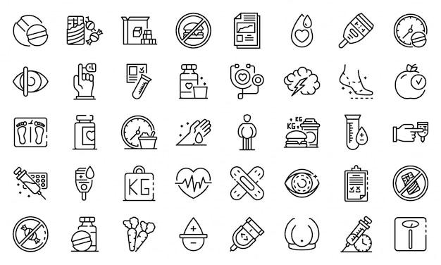 Conjunto de ícones de diabetes, estilo de estrutura de tópicos
