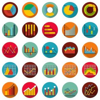 Conjunto de ícones de diagrama de gráfico, estilo simples