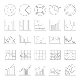 Conjunto de ícones de diagrama de gráfico