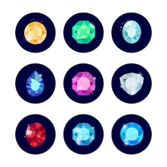 Conjunto de ícones de diamante de brilho