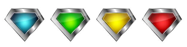 Conjunto de ícones de diamante. ilustração.